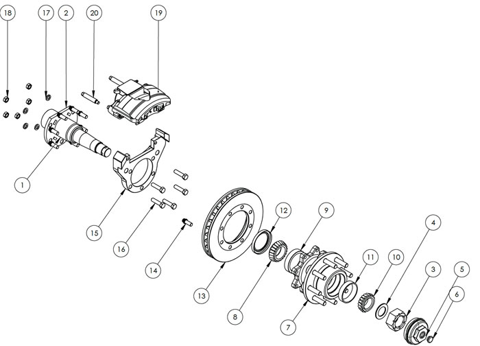 Kodiak Rockwell American Axle With Leaf Spring Suspension and Dual Wheels 10K Disc Brake Parts Illustration