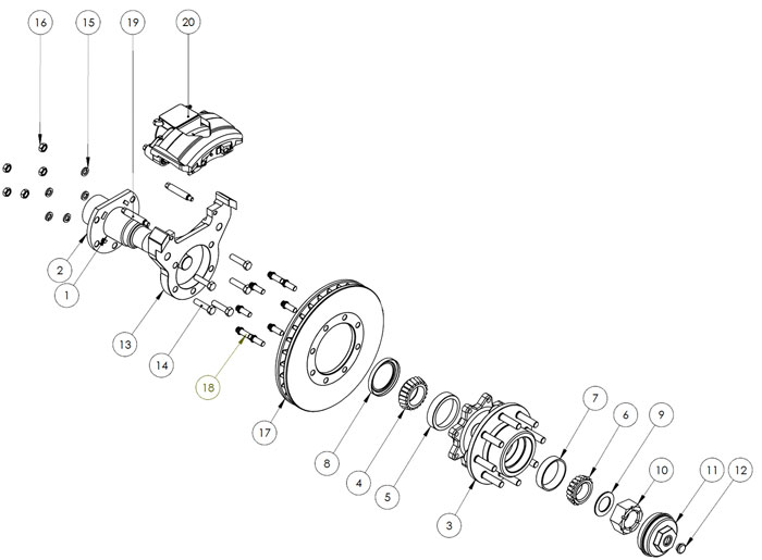 Kodiak Rockwell American 10K Axle With Torsion Suspension and Single Wheels Disc Brake Parts Illustration