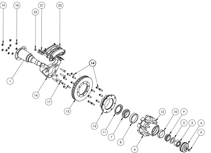 Kodiak Rockwell American 12K Dual Wheel Axle Disc Brake Parts Illustration