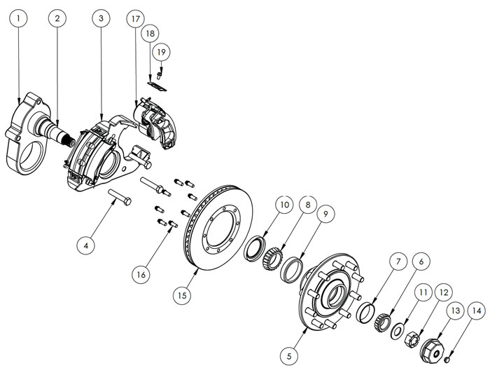 Kodiak 14K Special Single Wheel Axle Disc Brake Parts Illustration