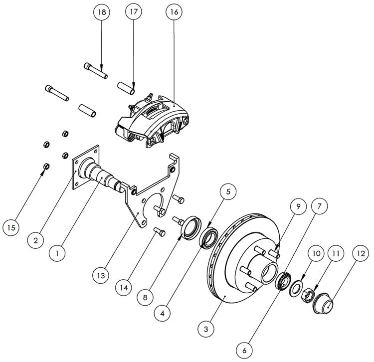 Kodiak 3.5K 10 Inch Integral Hub/Rotor Disc Brake Parts Illustration