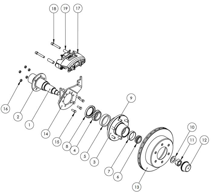 Kodiak 5.2-6K 12 Inch Surge Rotor Disc Brake Parts Illustration