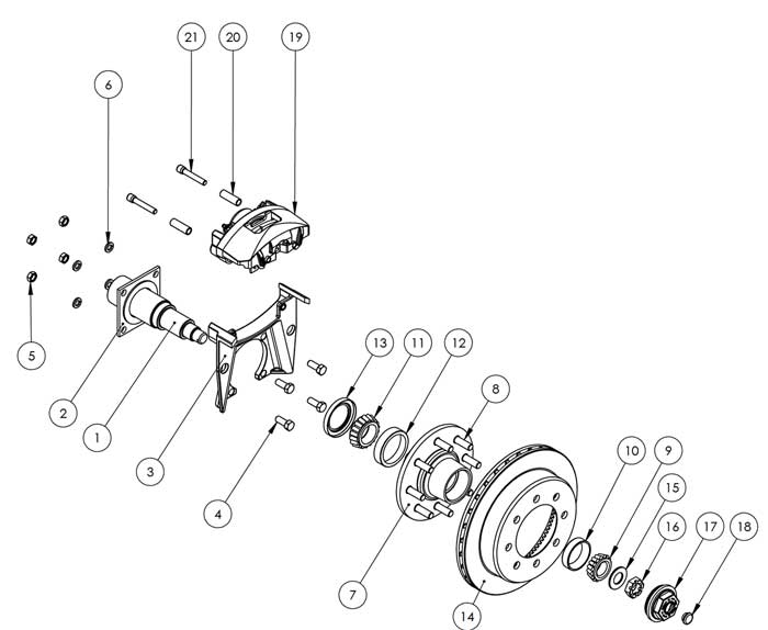 Kodiak Dexter axle with disc brake hub 8K 13 Inch Slipover Disc Brake Parts Illustration