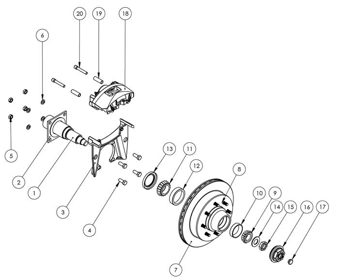 Kodiak 8K 13 Inch Hub/Rotor Integral Disc Brake Parts Illustration for Dexter/Lippert Axles
