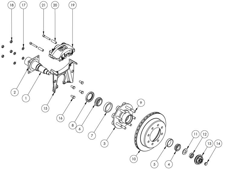 Kodiak Dexter/Lippert 8K 13 Inch Slipover Disc Brake Parts Illustration