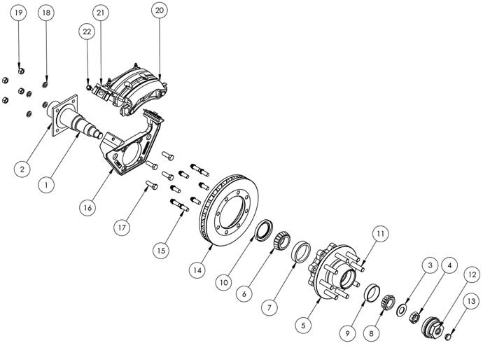 Kodiak Dexter/Lippert 8K HD 11.6 Inch Disc Brake Parts Illustration