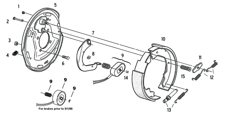 Dexter 10 x 1 1/2 Inch Electric Brake Parts Illustration