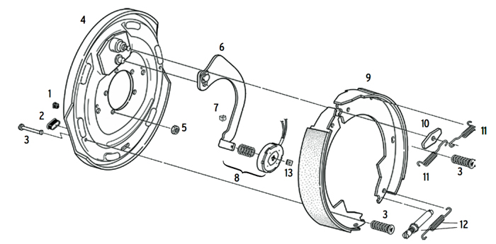 12 x 2 Inch Electric Brake Parts Illustration