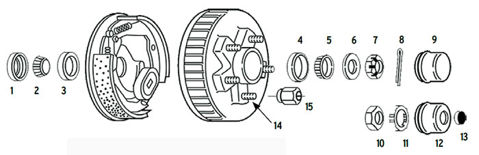 Hub-Drum trailer 5 bolt on 4 1/2, 4 3/4, 5 and 5 1/2 inch #84 spindle Parts Illustration