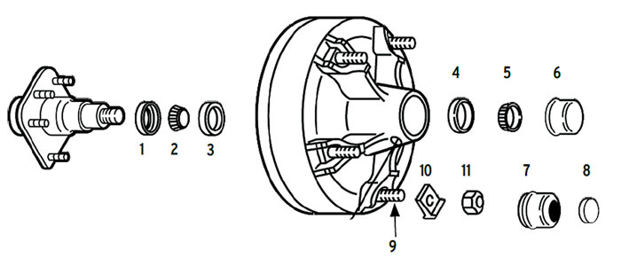 Hub/Drum trailer 5-spoke utility with spindle using 2.125 or 2.25 ID seals Parts Illustration