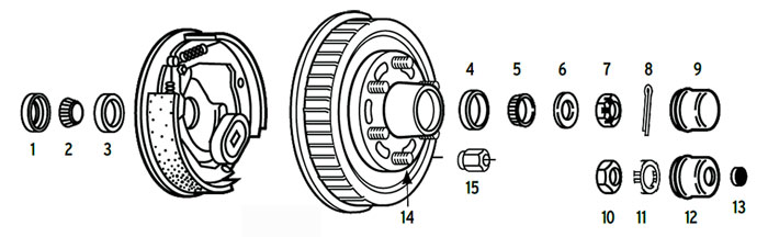 Hub/Drum trailer 6 bolt on 5 1/2 inch with spindle using 2.125 or 2.25 ID seals Parts Illustration