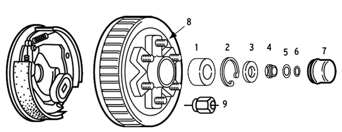 "Nev-R-Lube Hub/Drum 6 bolt on 5 1/2"" for 6k axles Parts Illustration"