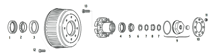 Trailer 12k Axle Hub/Drum 8 bolt on 6 1/2 inch Parts Illustration