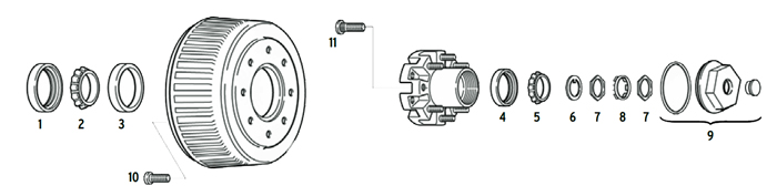 Trailer 15k dual wheel axle Hub/Drum 8 bolt on 275mm Parts Illustration