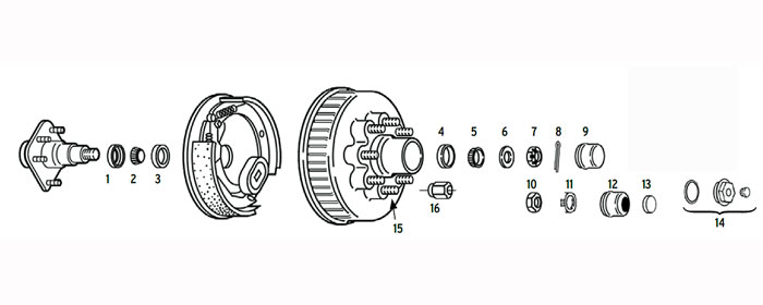 Hub/Drum trailer 8 bolt on 6 1/2 inch with spindle using 2.125 or 2.25 ID seals Parts Illustration