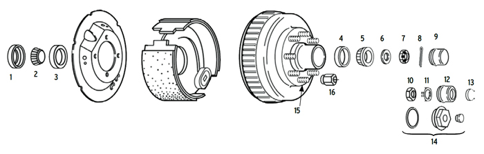 Trailer 7.2k Axle Hub/Drum 8 bolt on 6 1/2 inch Parts Illustration