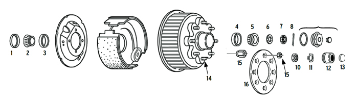 Trailer 8k Axle Hub/Drum 8 bolt on 6 1/2 inch Parts Illustration