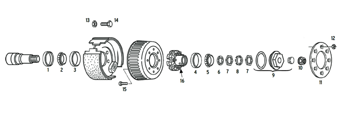 Trailer 9-10k Axle Hub/Drum 8 bolt on 6 1/2 inch Parts Illustration