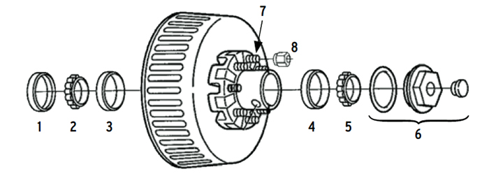 Trailer 9k Axle Hub/Drum 8 bolt on 6 1/2 inch Parts Illustration
