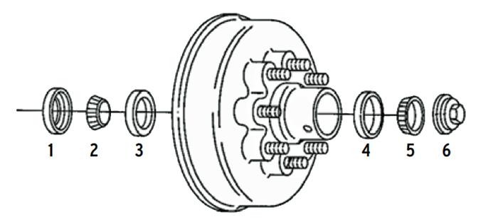 Al-Ko 8k Axle Hub/Drum 8 bolt on 6 1/2 inch Parts Illustration