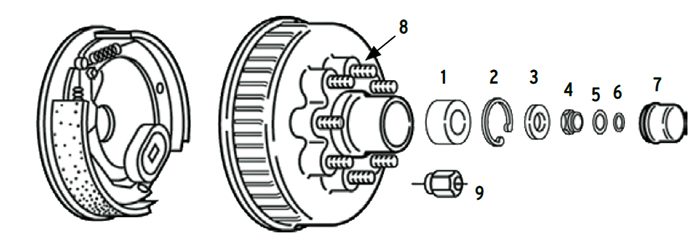 Trailer 7k Axle Nev-R-Lube Hub/Drum 8 bolt on 6 1/2 inch Parts Illustration