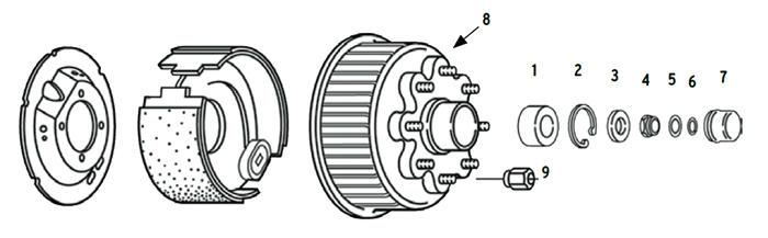 Trailer 8k Axle Nev-R-Lube Hub/Drum 8 bolt on 6 1/2 inch Parts Illustration