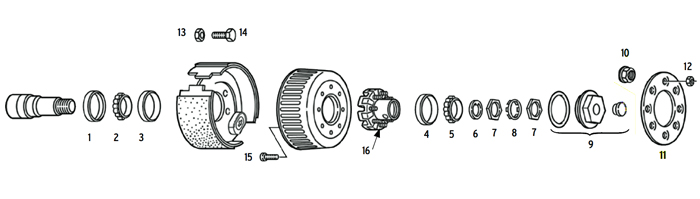 Trailer Old 9-10k Axle Hub/Drum 8 bolt on 6 1/2 inch Parts Illustration