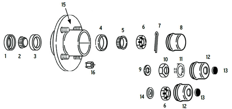 Hub trailer 4 bolt on 4 inch BTR spindle Parts Illustration