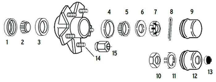 Hub trailer 5 bolt on 4 1/2, 4 3/4, 5 and 5 1/2 inch #84 spindle Parts Illustration