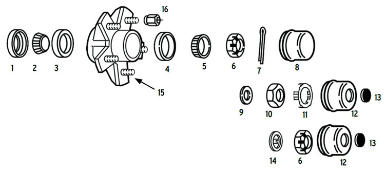 Hub trailer 5 bolt on 4 1/2 inch BTR spindle Parts Illustration