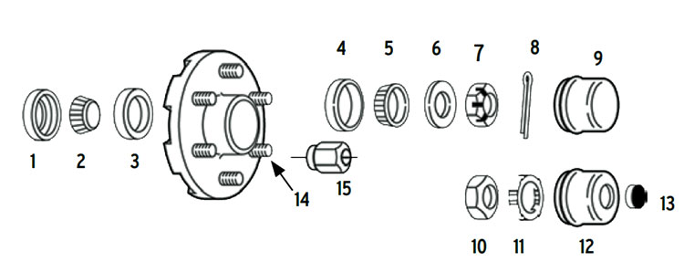 "Hub trailer 6 bolt on 5 1/2"" #84 spindle Parts Illustration"