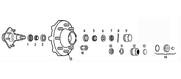 Hub trailer 8 bolt on 6 1/2 inch with spindle using 2.125 or 2.25 ID seals Parts Illustration