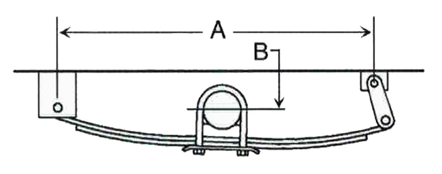 Single Axle Spring Hanger Location Measurement Illustration